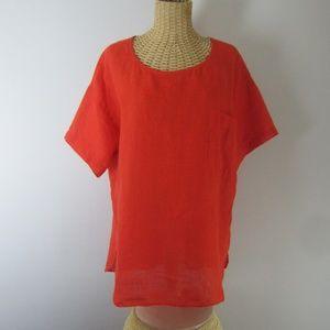 Baird T&N Miami Orange Irish Linen Tunic Medium